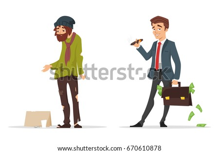 Rich poor stock images royalty free images vectors shutterstock vector cartoon style characters poor and rich man isolated on white background sciox Images