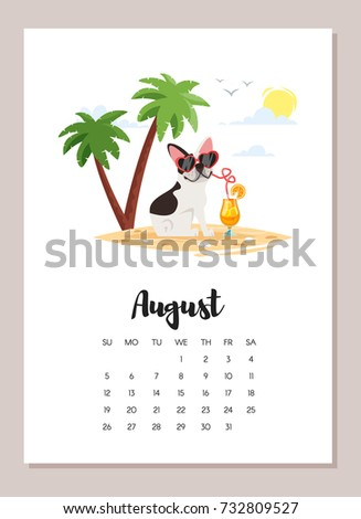 Vector cartoon style illustration of August french bulldog dog 2018 year calendar page. Isolated on white background. Template for print.