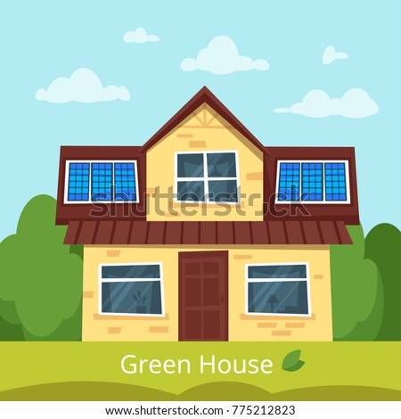 Perfect Vector Cartoon Style Illustration Of Eco House With Solar Panels On The  Roof. Renewable And