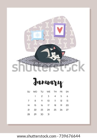 Vector cartoon style illustration of January dog 2018 year calendar page. Isolated on white background. Template for print.
