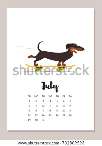 Vector cartoon style illustration of July dachshund dog 2018 year calendar page. Isolated on white background. Template for print.