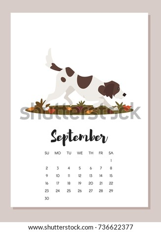 Vector cartoon style illustration of September hunting dog 2018 year calendar page. Isolated on white background. Template for print.