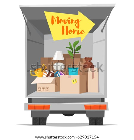 Vector Cartoon Style Illustration Of Truck With Open Bodywork And Home Stuff Inside Cardboard Boxes