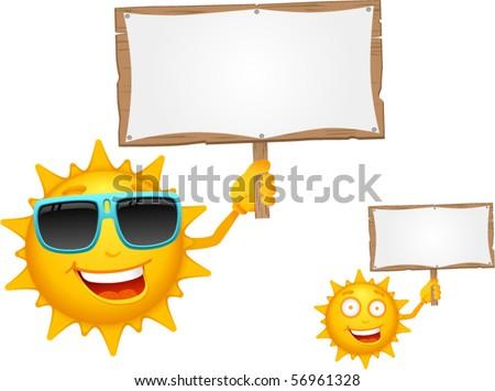 Vector Cartoon Sun Characters with Signboard - stock vector