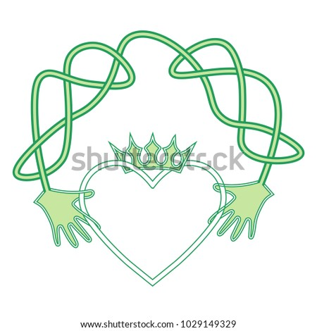 Vector Cartoon Symbol Irish Claddagh Ring Stock Vector 1029149329