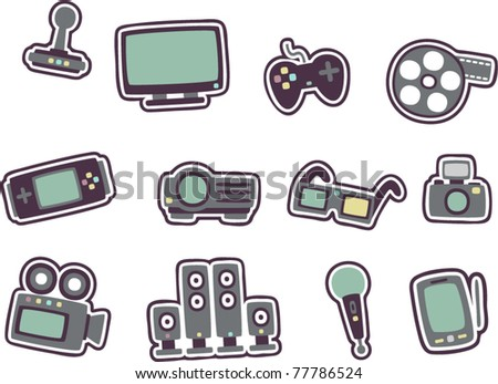 vector cartoon technology icons 2 - stock vector