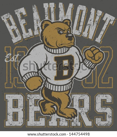 Vector cartoon three color retro bears mascot athletic design with strutting cartoon bear mascot illustration, vintage athletic fonts and matching textures (all on separate layers, of course). - stock vector