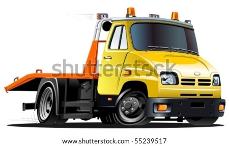vector cartoon tow truck - stock vector
