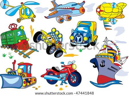 Vector cartoon transport set - stock vector
