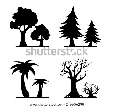 Vector cartoon trees silhouettes - stock vector