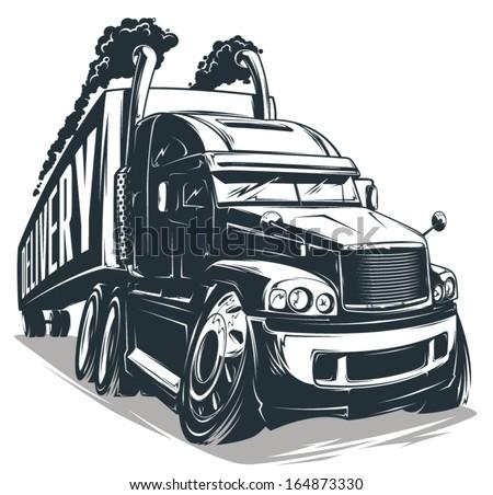 Vector Cartoon truck - stock vector