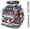Vector cartoon turbo engine. - stock vector