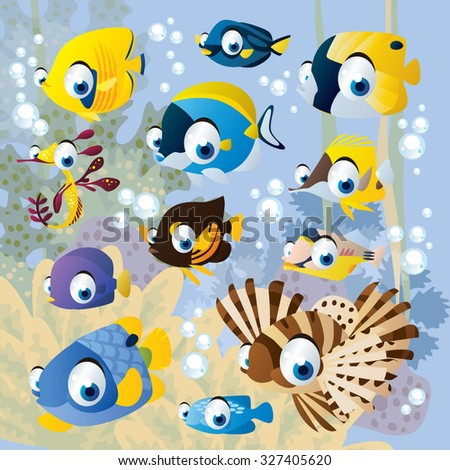 vector cartoon underwater scenery with exotic tropical fish - stock vector