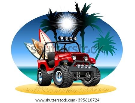 Vector cartoon 4x4 car on beach - stock vector