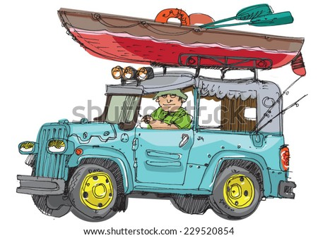 Vector cartoon 4x4 vehicle with kayak on the top - stock vector