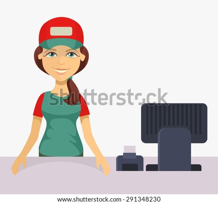 Vector cashier. Flat cartoon illustration - stock vector