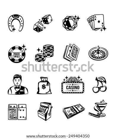 Vector casino black icon set - stock vector