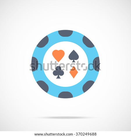 Vector casino chip icon. Flat poker chip icon. Flat design vector illustration for web banner, web and mobile, infographic. Gambling chip icon graphic. Vector icon isolated on gradient background - stock vector