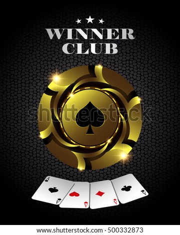 Vector casino poker gold chip, template for design backgrounds, cards and banners.