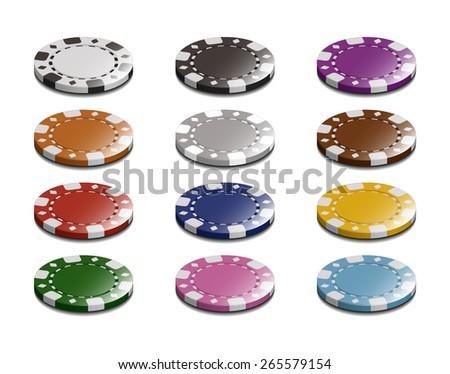 Vector Casino Stake Chip Set  - stock vector