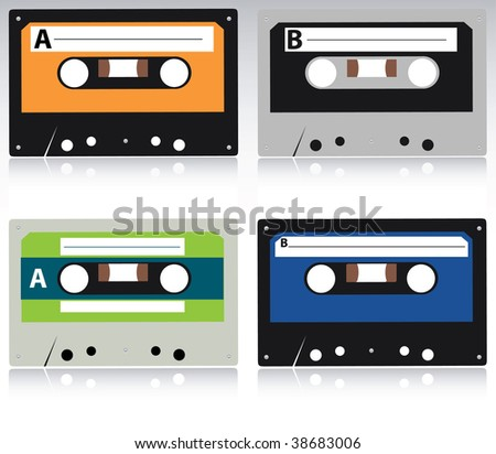 vector cassette collection - stock vector