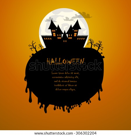 Vector : Castle and moon Halloween background - stock vector