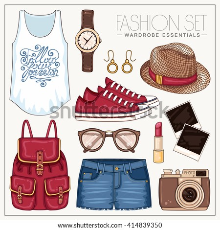 Vector casual fashion set of woman's clothes and accessories. Summer outfit with jeans shorts, backpack, sneakers, top and hat - stock vector
