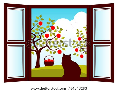 cats on appletrees vector cat in the window and apple trees outside columnar