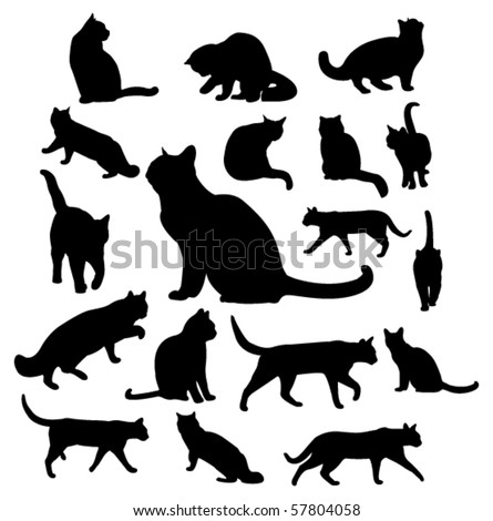 vector cats silhouettes - stock vector
