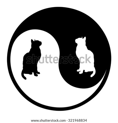 Vector cats yin yang. - stock vector