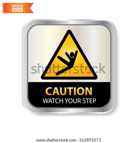Vector : Caution with wet floor text and sign isolated. Eps10.