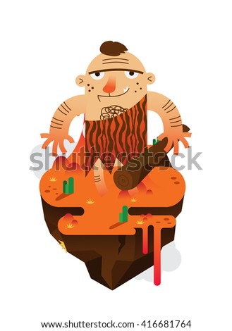 Vector Caveman with volcanic island