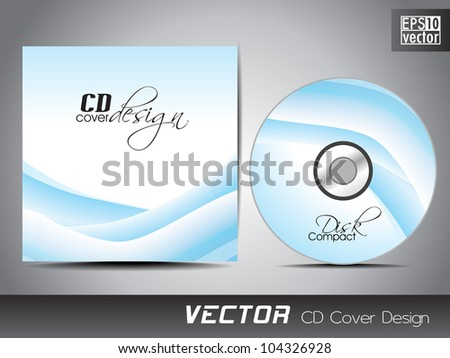 Vector CD cover design with wave pattern in blue color. EPS 10. Vector illustration. - stock vector