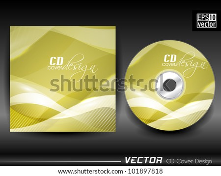 Vector CD cover in yellow and white color having wave effect and space for your text. EPS 10. Vector illustration.
