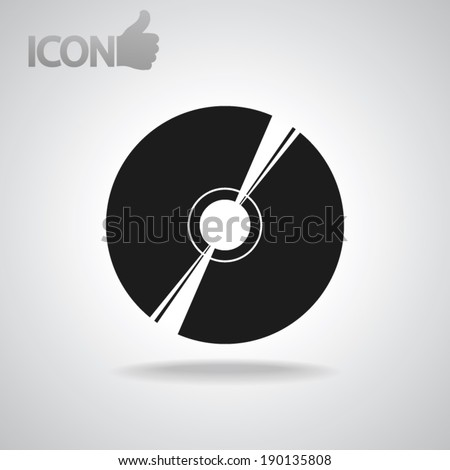 Vector CD or DVD icon, vector illustration. Flat design style - stock vector