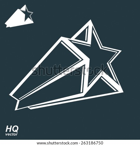 Vector celestial object, pentagonal comet star illustration, includes additional version. Graphical stylized comet tail. Military stylized design element. - stock vector