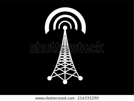 Vector cell phone tower - stock vector