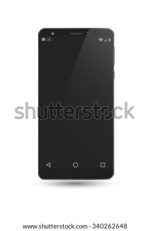 Vector cell phone with dark screen. - stock vector