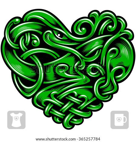 Vector celtic pattern in the shape of green heart - stock vector