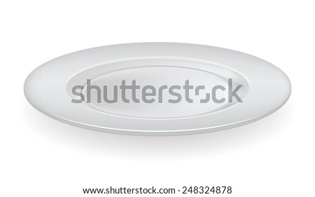 Vector ceramic plate on a white background - stock vector