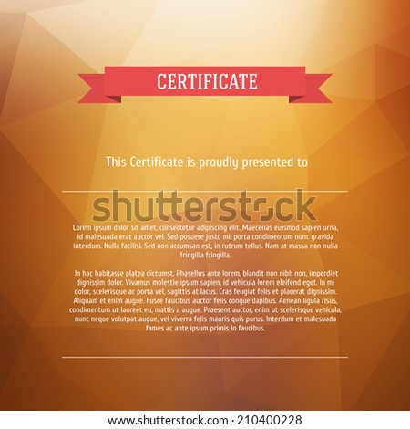 Vector certificate background. Modern flat style. - stock vector