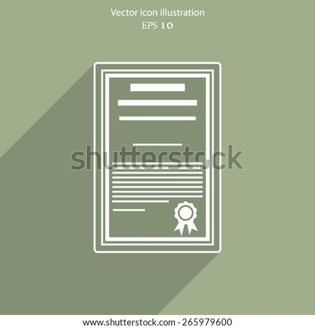 Vector certificate flat icon illustration - stock vector