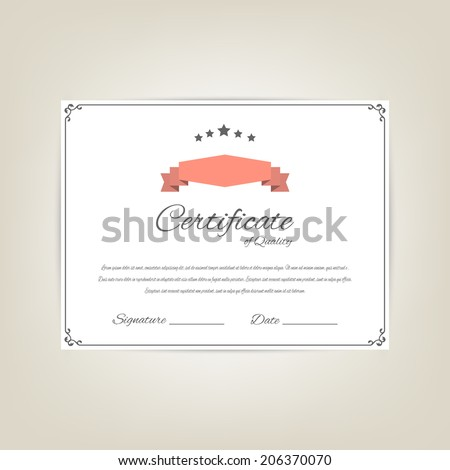 Vector certificate of quality (design template)