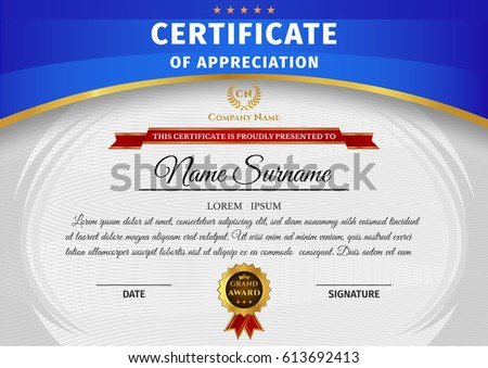 Vector certificate template on awarding design stock vector vector certificate template on awarding design of certificate with blue and gold elements and badge yelopaper Gallery