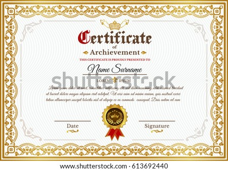 Vector certificate template on awarding design stock vector vector certificate template on awarding design of certificate with golden vintage ornament on the contour yadclub Image collections