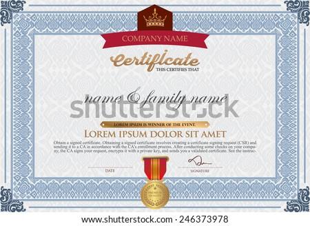 Vector certificate template-vector stock - stock vector