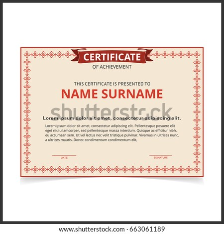 Vector certificate template red borders stock vector 663061189 vector certificate template with red borders yadclub Image collections