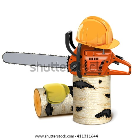 Vector Chainsaw with Helmet and Birch Firewood