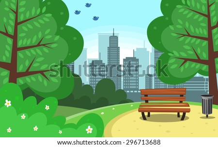 vector chair and trash can in green park with town building background and bird - stock vector