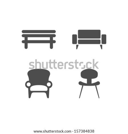Vector Chair Icon Symbol Set - stock vector